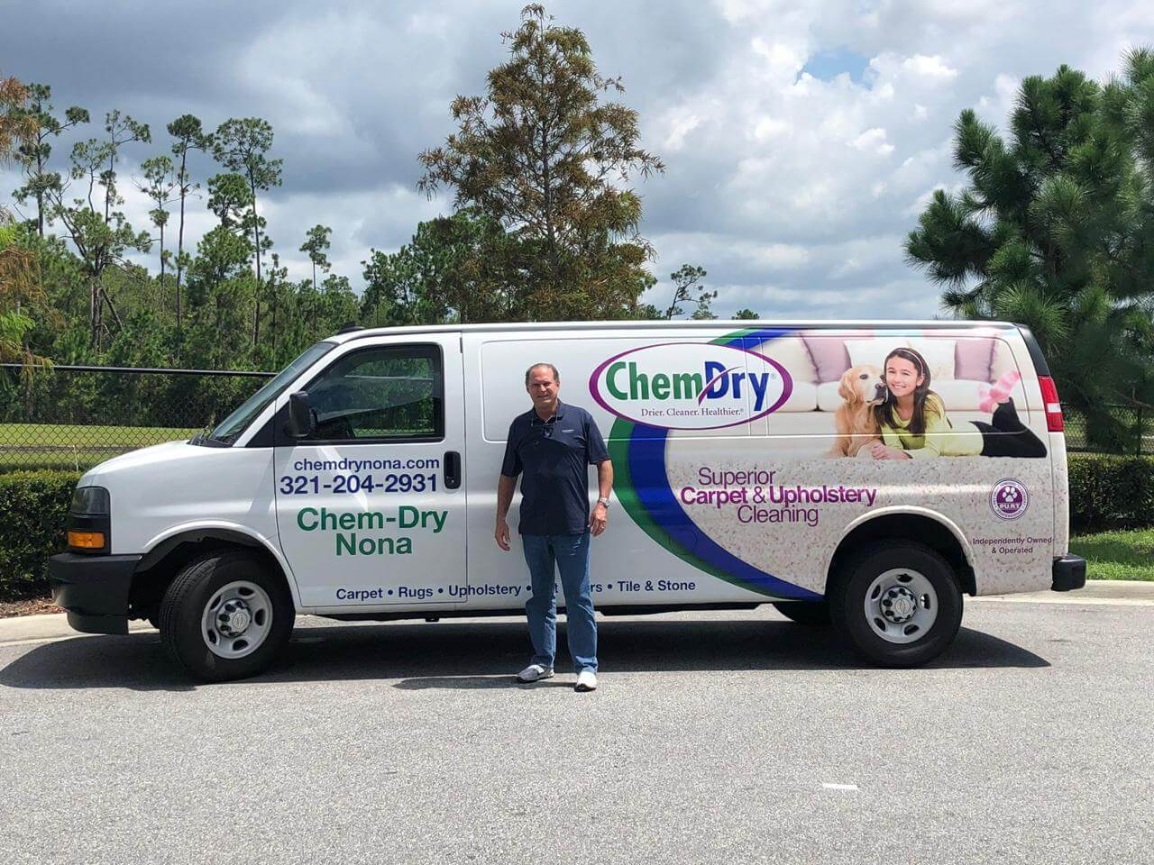 Chem-Dry of Nona service van and technician preparing for carpet cleaning service